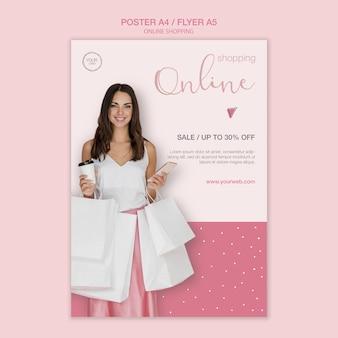 Modèle d'affiche de femme avec des sacs à provisions