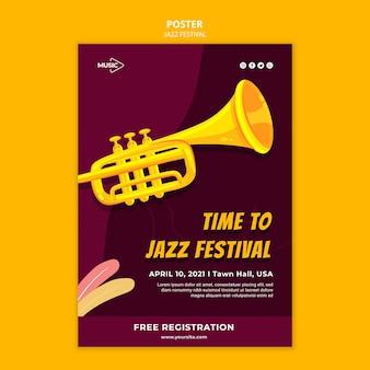 Modèle d'affiche de festival de jazz