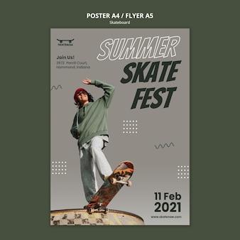 Modèle d'affiche de festival de skateboard
