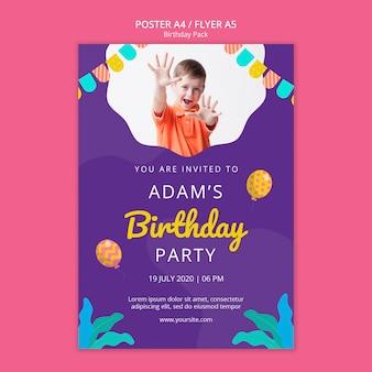 Modèle d'affiche avec fête d'anniversaire