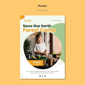 Modèle d'affiche de la fête de la terre mère avec photo