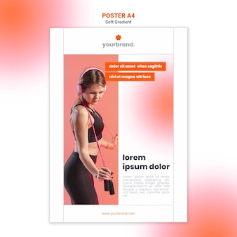 Modèle D'affiche De Fitness Femme Avec Corde à Sauter Psd gratuit