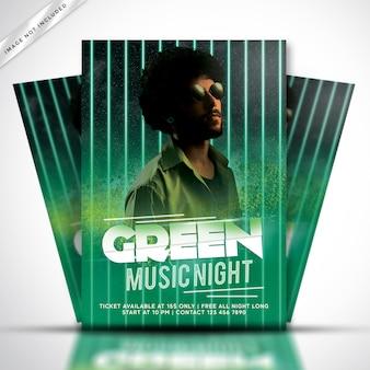 Modèle d'affiche ou de flyer de musique de fête verte