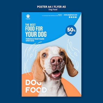 Modèle d'affiche / flyer de nourriture pour chien