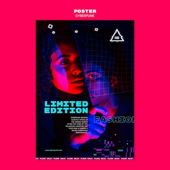 Modèle d'affiche futuriste cyberpunk avec photo