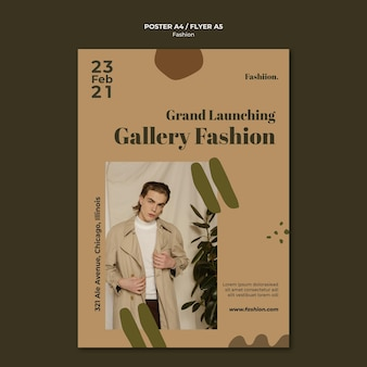 Modèle d'affiche de galerie de mode