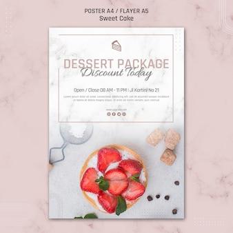 Modèle d'affiche de gâteau de réduction de paquet de dessert aujourd'hui