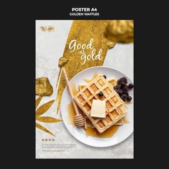 Modèle d'affiche de gaufres dorées avec du miel