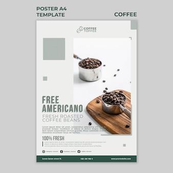Modèle d'affiche de grains de café