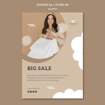 Modèle d'affiche de grande vente shopping