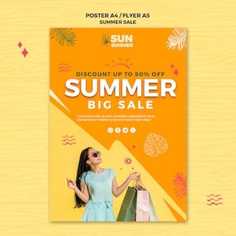 Modèle d'affiche de grandes ventes d'été