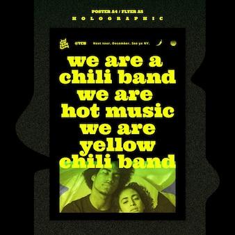 Modèle d'affiche de groupe de musique holographique