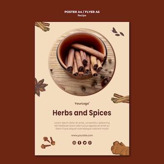 Modèle d'affiche d'herbes et d'épices