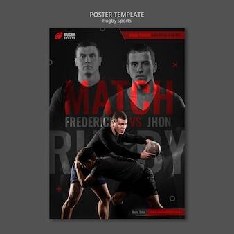 Modèle d'affiche homme jouant au rugby