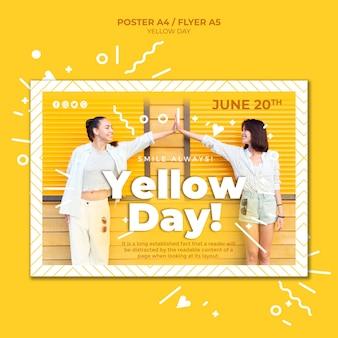 Modèle d'affiche horizontale de jour jaune avec photo