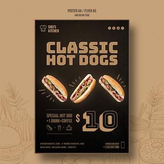 Modèle d'affiche de hot-dog classique de cuisine de chefs