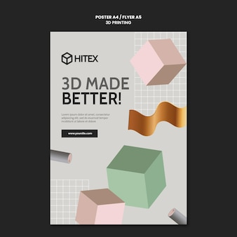 Modèle d'affiche d'impression 3d