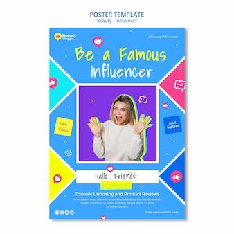 Modèle d'affiche d'influenceur célèbre