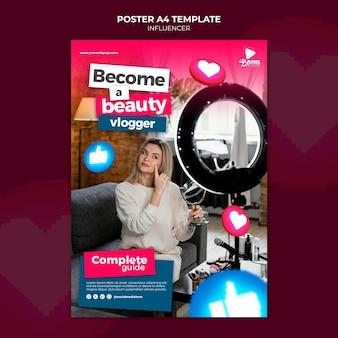 Modèle d'affiche d'influenceur avec photo
