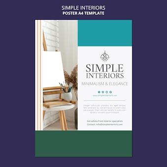 Modèle d'affiche d'intérieurs minimalistes