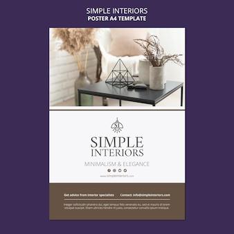 Modèle d'affiche d'intérieurs simples avec des meubles