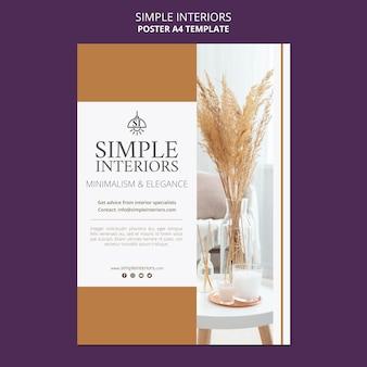 Modèle d'affiche d'intérieurs simples avec des plantes