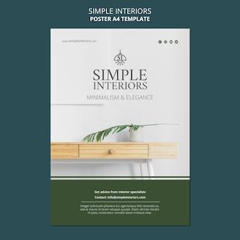 Modèle d'affiche d'intérieurs simples