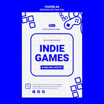 Modèle d'affiche de jam fest de jeux vidéo indépendants