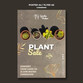 Modèle d'affiche de jardinage avec photo