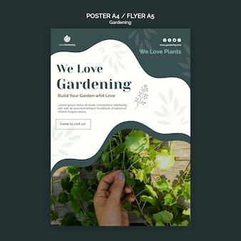 Modèle d'affiche avec jardinage