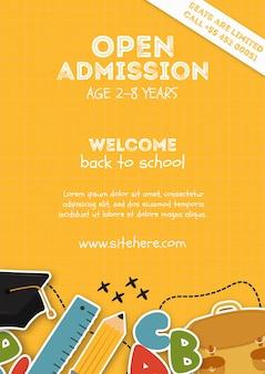 Modèle d'affiche jaune pour l'admission ouverte à l'école