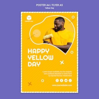 Modèle d'affiche de jour jaune