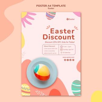 Modèle d'affiche de jour de pâques pastel