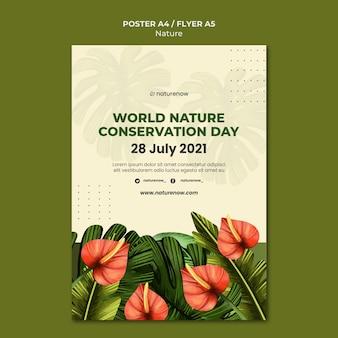 Modèle d'affiche de la journée de la conservation de la nature