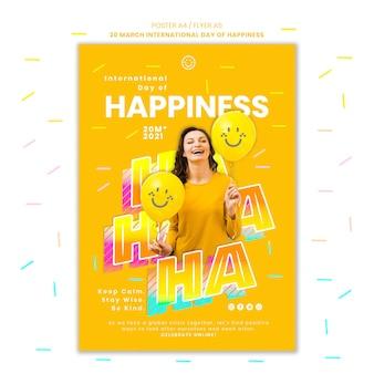 Modèle d'affiche de la journée du bonheur