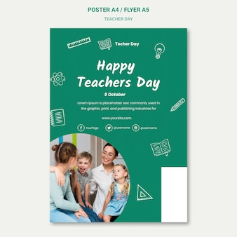 Modèle d'affiche de la journée des enseignants heureux