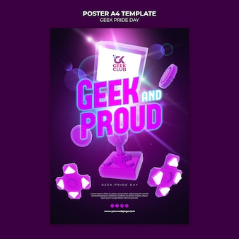 Modèle d'affiche de la journée de la fierté geek