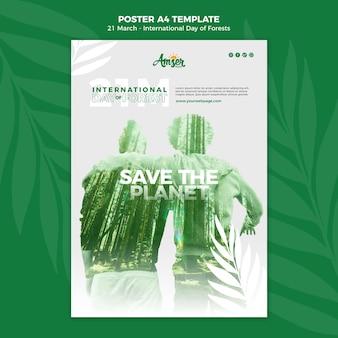 Modèle d'affiche de la journée des forêts avec photo