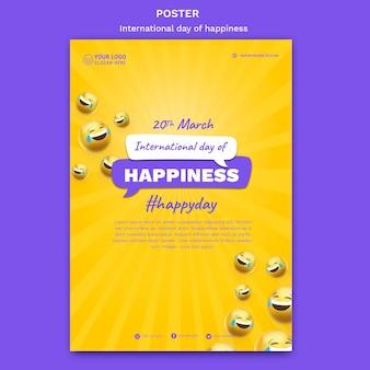 Modèle d'affiche de la journée internationale du bonheur
