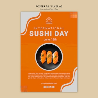 Modèle d'affiche de la journée internationale du sushi