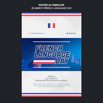 Modèle d'affiche de la journée de la langue française