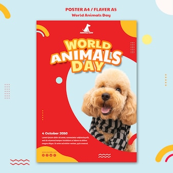 Modèle d'affiche de la journée mondiale des animaux