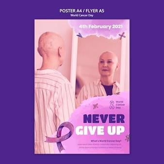 Modèle d'affiche de la journée mondiale du cancer avec ruban