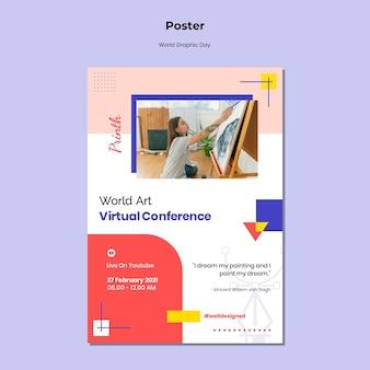 Modèle d'affiche de la journée mondiale du graphisme