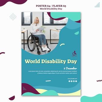Modèle d'affiche de la journée mondiale du handicap