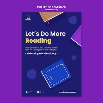 Modèle d'affiche de la journée mondiale du livre illustré
