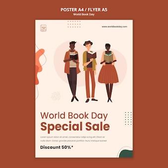 Modèle d'affiche de la journée mondiale du livre