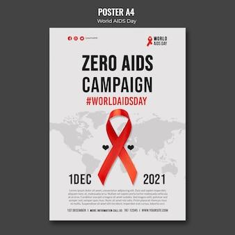 Modèle d'affiche de la journée mondiale du sida avec ruban rouge