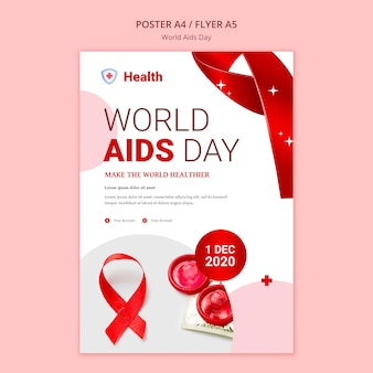 Modèle d'affiche de la journée mondiale du sida