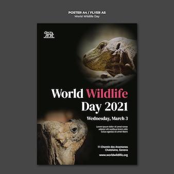 Modèle d'affiche de la journée mondiale de la faune
